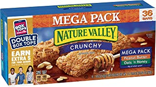 Nature Valley Granola Bars, Crunchy, Mega Pack of Peanut Butter and Oats 'n Honey