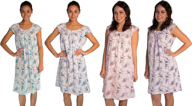 JOTW 4 Pack Nightgown Sleepwear Dress With pinkPrint (0077)