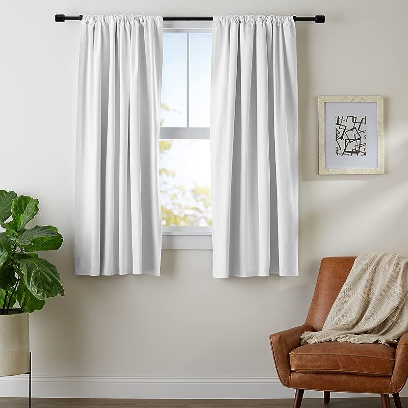 AmazonBasics Room Darkening Blackout Window Curtains With Tie Backs Set 52 X 63 White