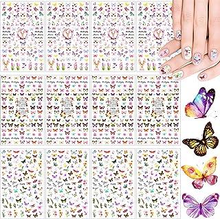 12 Sheets 3D Butterfly Nail Art Stickers Adhesive Flowers Butterfly Nail Decal Stickers for Women Girls Nail DIY Decoratio...