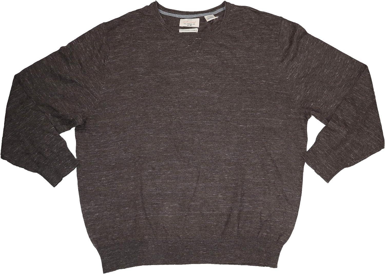 Weatherproof Vintage Mens Big & Tall Knit Crew Neck Pullover Sweater Brown XXXL
