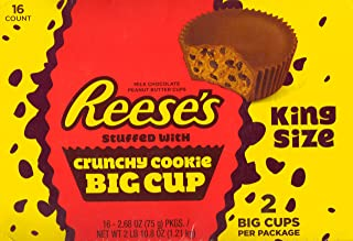 Reese's King Size Stuffed with Crunchy Cookie Big Cup – Kids Favorite Snack - 2.68 Oz (16 Pack)