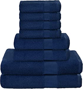 Elvana Home 8 Piece Towel Set 100% Ring Spun Cotton, 2 Bath Towels 27x54, 2 Hand Towels 16x28 and 4 Washcloths 13x13 - Ultra Soft Highly Absorbent Machine Washable Hotel Spa Quality - Navy Blue