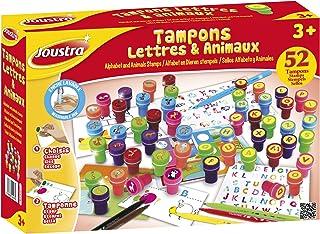 Joustra Lettres et Animaux Loisirs Créatifs pour Enfants dès 3 ans-52 Tampons Pré Couleurs Variées, 1 Livret Educatif et 6...