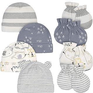 Gerber Baby Boys' 8-Piece Organic Cap and Mitten Set