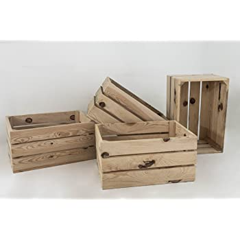 Set 4 Cajas de Madera Pino Sam, Natural, Beige, Cajas ...