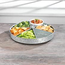 KOVOT Galvanized Rotating Lazy Susan With (6) Sections | Rustic & Country Style Decor Organizer & Server | Measures 16.5