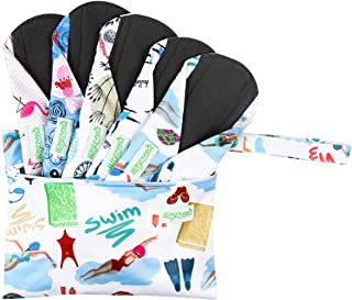 Wegreeco Bamboo Reusable Sanitary Pads (Stylish Pattern) - Cloth Sanitary Pads | Light Incontinence Pads | Reusable Menstrual Pads - 5 Pack Pads, 1 Cloth Mini Wet Bag Bonus (Medium, Dynamic)