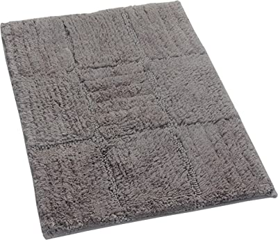 Textile Décor Castle Hill Bath Mat with Spray Latex Backing, Checker Board Design, 24 by 40-Inch, Stone