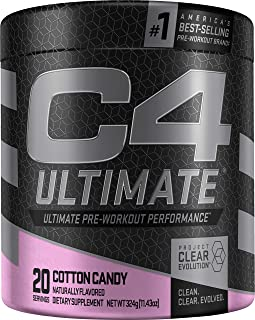 Cellucor C4 Ultimate Pre Workout Powder Cotton Candy | Sugar Free Preworkout Energy Supplement for Men & Women | 300mg Caffeine + 3.2g Beta Alanine + 2 Patented Creatines | 20 Servings