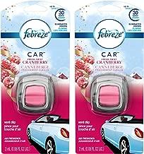 Febreze Car Vent Clip Air Freshener - Fresh-Twist Cranberry - Holiday Collection 2017 - Net Wt. 0.06 FL OZ (2 mL) Per Vent Clip - Pack of 2 Vent Clips