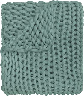 Donna Sharp Throw Blanket - Chunky Knit Aqua Contemporary Decorative Throw Blanket with Giant Knit Stitches