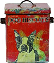Creative Co-op Vintage Tin Boston Terrier Dog Biscuit Container