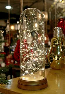 Gerson Glass Display Dome Cloche with Suspended LED Fairy Lights 12 Inches High
