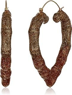 Women's Gold Ombre Heart Hoop Earrings, Gold, One Size
