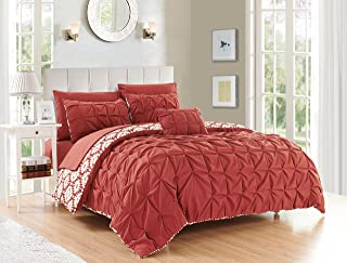 Chic Home 4 Piece Zissel Pleated Pintuck and printed REVERSIBLE with Elephant Embroidered pillow Queen Duvet Cover Set Brick