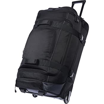 AmazonBasics Ripstop Rolling Travel Luggage Duffle Bag With Wheels - 32.5 Inch, Black