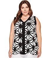 Vince Camuto Specialty Size - Plus Size Sleeveless Tribal Starlight High-Low Blouse w/ Trim
