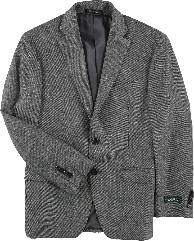Ralph Lauren Mens UltraFlex Two Button Blazer Jacket, Grey, 38 Short