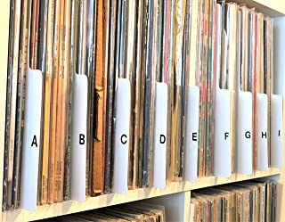 A to Z White Vertical Vinyl Record Dividers 12-inch LP. Bottom-Edge Over-Sized Tab. Professional Album Organizers/Organization A-Z Alphabet Alphabetize Alphabetical Cards
