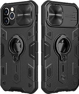 CloudValley Compatibel met iPhone 12 Pro Max Case met Camera Cover & Kickstand, Slide Lens Cover + Ingebouwde 360 ° Rotate...