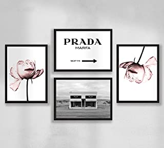 Decorazione da parete - Set di poster premium da parete per soggiorno, formato A4, senza cornice, Prada Marfa, peonia