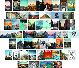 Travel Theme Picture Wall Collage Kit Aesthetic | 50 Prints 4x6 in Set - Aesthetic Photo Collage Kit | Travel Pic Collage ...