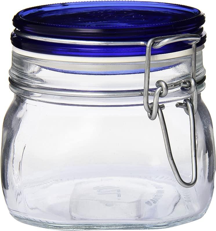 Bormioli Rocco Fido Square Jar With Blue Lid 17 1 2 Ounce