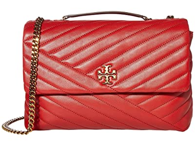 Tory Burch Kira Chevron Convertible Shoulder Bag (Red Apple) Handbags
