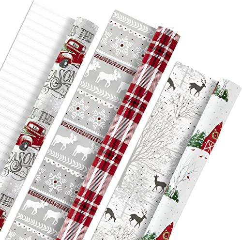 Hallmark Holiday Reversible Wrapping Paper Bundle, Rustic Christmas (Pack of 3, 120 sq. ft. ttl) Plaid, Barn, Red Tru...