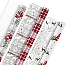 Hallmark Holiday Reversible Wrapping Paper Bundle, Rustic Christmas (Pack of 3, 120 sq. ft. ttl) Plaid, Barn, Red Truck, M...