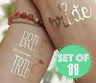 ZapTat Bride Tribe Bachelorette Gold Tattoos - Temporary Flash Metallic Tats - Set of 11 - 1 'Bride' and 10 'Bride Tribe'