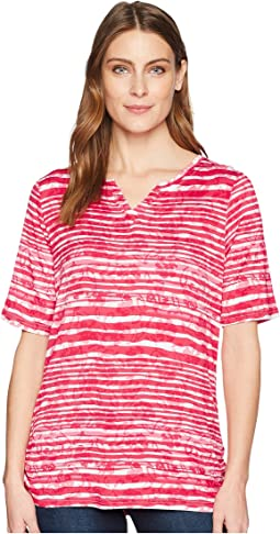 Shadow Stripe Semi Short Sleeve Top
