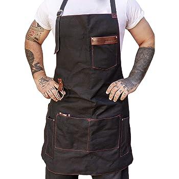 Kitchen For Pros Mandil Parrillero - Mandiles para Hombre con increíbles terminados en Piel - Ideal en tu Kit parrillero - El Mejor Delantal parrillero - Kit Bartender - Espadas para Asar Carne