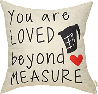 Fjfz Country Rustic Décor You are Loved Beyond Measure Farmhouse Decoration Cotton Linen Home Decorative Throw Pillow Case Cushion Cover with Words for Lover Sofa Couch, 18