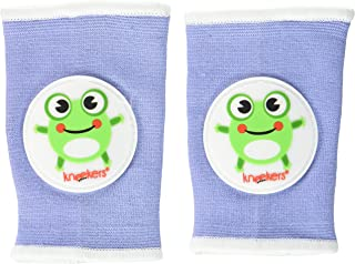 Ah Goo Baby Kneekers Baby Knee Pads for Crawling, Unisex, Hoppy Frog Periwinkle Pattern, for Lean Legs