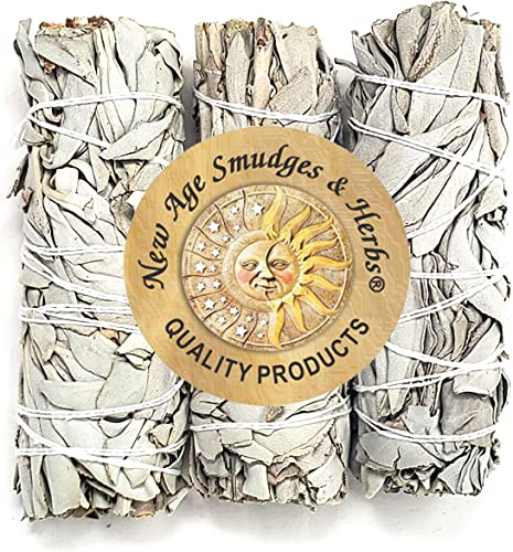 lowest ( Pack of 3)-New Age Smudges & Herbs - Premium Organic California White Sage 4 Inches Long. Use for Home Cleansing, and 2021 Fragrance, Meditation, Smudging Rituals. Grown Organically on private family high quality farms and packaged in the USA. sale