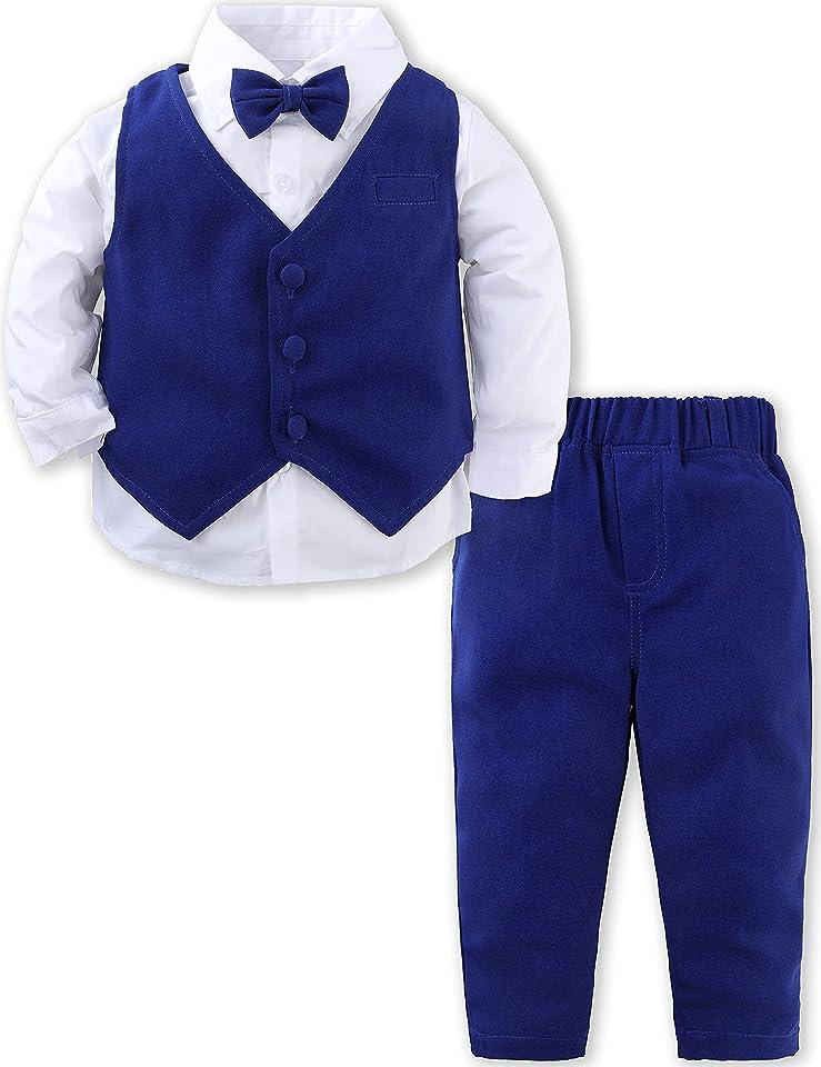 Baby Boys Gentleman Suit Set Long Sleeve Shirt with Bowtie + Waistcoat + Pants, Size: 1-4 Years