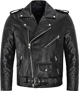 Mens Brando Biker Jacket Motorbike Genuine Cowhide Leather Mens Perfecto Motorbike Classic Biker Fashion Leather Jacket