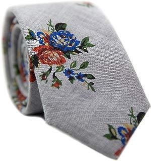 Men's Skinny Tie Floral Print Cotton Necktie, Great for Weddings, Groom, Groomsmen, Missions, Dances, Gifts.