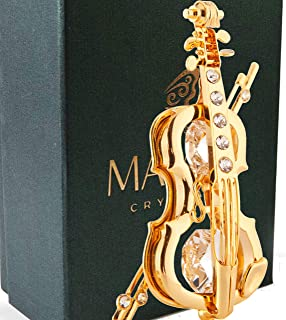 24K Gold Plated Highly Polished Violin Ornament Made with Genuine Matashi Crystals
