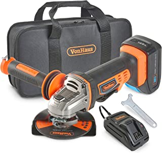 """Sponsored Ad – VonHaus Cordless Angle Grinder with 3.0Ah Li-ion 20V MAX Battery, Charger, 1 x 115mm / 4 ½"""" Cutting Disc & ..."""