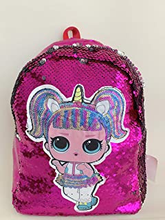 Unicorn Sequin hot pink LOL Surprise Backpack | Fashion bag | One main Compartment | inner zip | PU Leather back | Size 28 x 21 x 12 CM