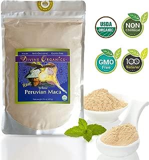 Divine Organics, 16oz Maca Powder - Certified Organic - Raw, Vegan, Anti-Oxidizing, Gluten Free - Yellow Peruvian Maca Root