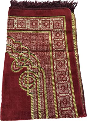 Luxury Colored Velvet Climber Leaf Pattern Islamic Prayer Rug Janamaz Sajjadah Muslim Turkish Prayer Rug (Red)