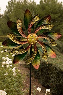 Alpine Corporation Dual Floral Windmill Stake with Gems - Kinetic Spinner - Outdoor Yard Art Decor - Green and Orange - 22