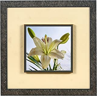 Wens 'White Lily Flower Embossed' Wall Art Painting (Synthetic Wood, 33 cm x 33 cm x 4 cm)