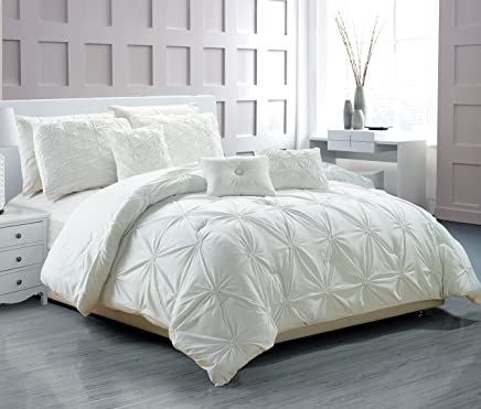 RT Designers Collection Cosmo 6-Piece Smocked Comforter Set,  Queen,  White
