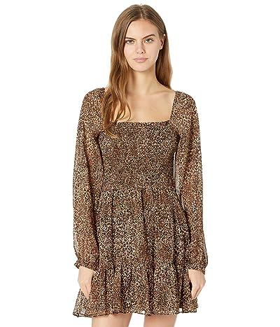 1.STATE Long Sleeve Smocked Top Ruffle Hem Dress