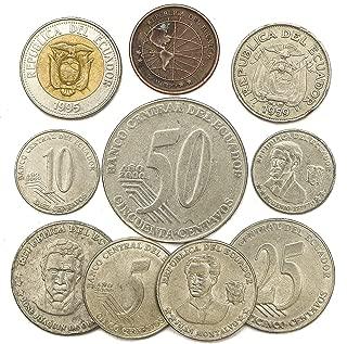 10 Old Coins from Republic of Ecuador. South American Collectible Coins Ecuadorian CENTAVOS. Perfect Choice for Your Coin Bank, Coin Holders and Coin Album